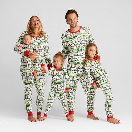 The Grinch Pajamas Womens Men Size Large,XL One Piece Union Suit 100% Cotton NEW