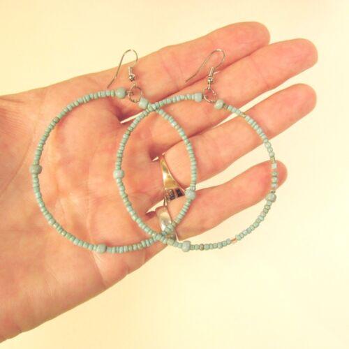 "2/"" Large Aqua Blue Turquoise Color Bohemian Handmade Seed Bead Hoop Earring"