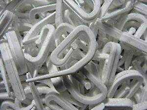 Curtain-Hooks-50-For-Curtain-Rings-amp-Header-Tape-White-Plastic-Nylon-NEW