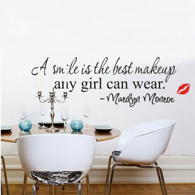 Marilyn Monroe Smile Makeup Quote Wall Stickers Art Fashion Home Decor Decal