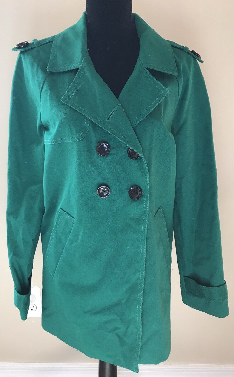 Green Peacoat Double Breasted Jacket Coat Solid Daisy Fuentes sz Large