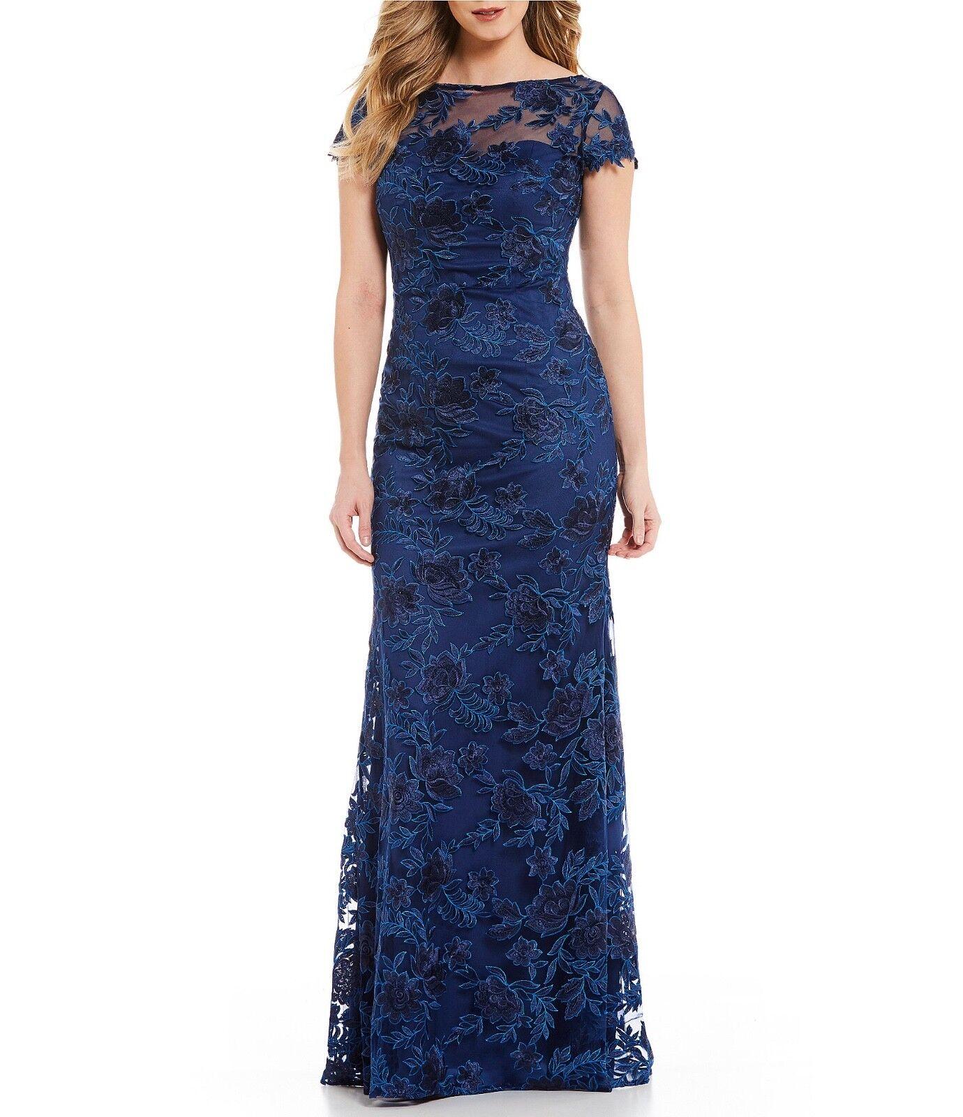 La Femme Cap Sleeve Lace Gown SZ 8  retai  629.00