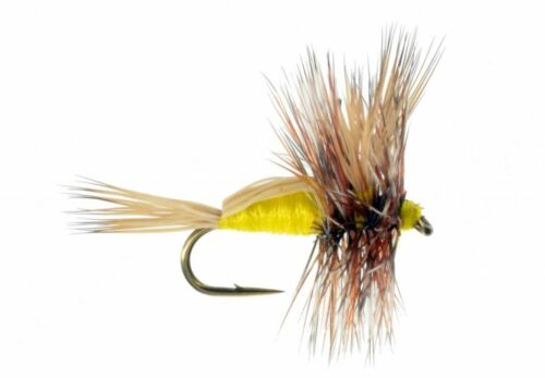 Humpy Yellow Fly Fly Fishing Flies Bass, Bream, Trout, Salmon x 6