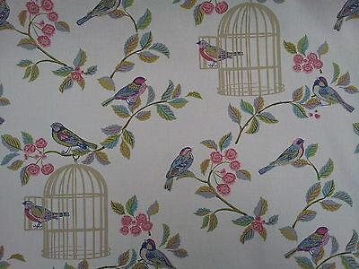 Vintage Song Bird, Bird Cage Eau De Nil Designer Curtain Fabric