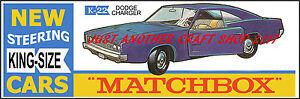 Matchbox-King-Size-K-22-Dodge-Cargador-Cartel-Folleto-anuncio-cartel-de-tienda-de-1969