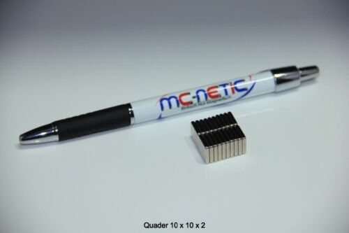20 Stück Neodym Quadermagnete Magnetquader 10x10x2 mm N45 vernickelt sehr stark