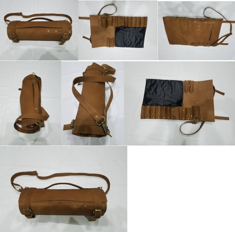 Real Genuine vintage en cuir marron clair chef couteaux Sac Pochette étui Rouleau 8 10 poches
