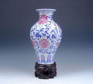 Other Asian Antiques Symbol Of The Brand Blau & Weiß Glasierter Porzellan Ox-blood Rote Blumen Bemalt Vase W/ständer #