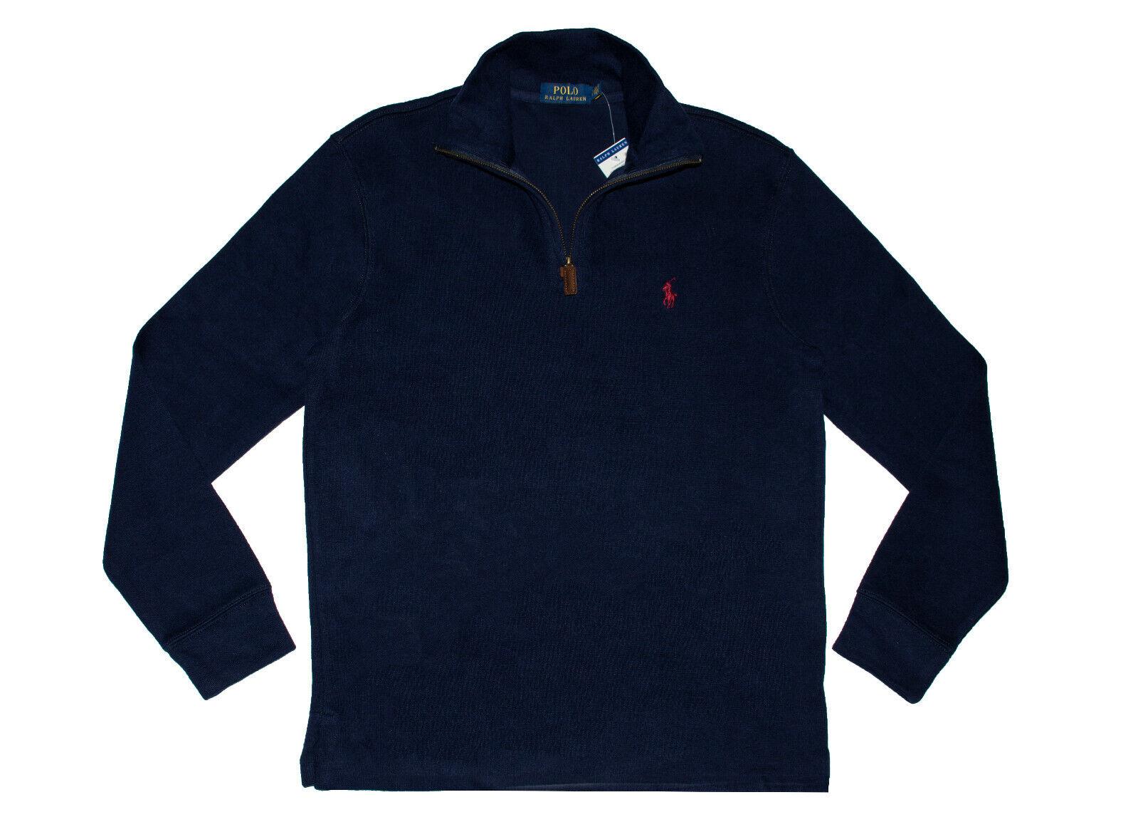 acfb6d003ad Polo Ralph Lauren Men s Half Zip French Rib Cotton Sweater Navy ...
