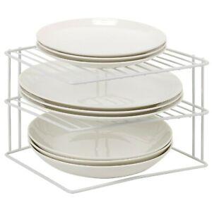 Laminated-Metal-Wire-3-Tier-Corner-Plate-Stand-Rack-Kitchen-Cupboard-Storage-NEW