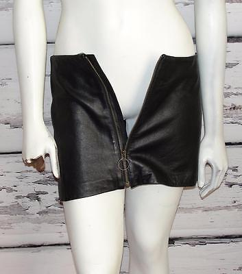 BLACK~VINTAGE~SOFT LEATHER *FRONT METAL ZIPPER* STRAIGHT MINI SKIRT (Fits 4-6)