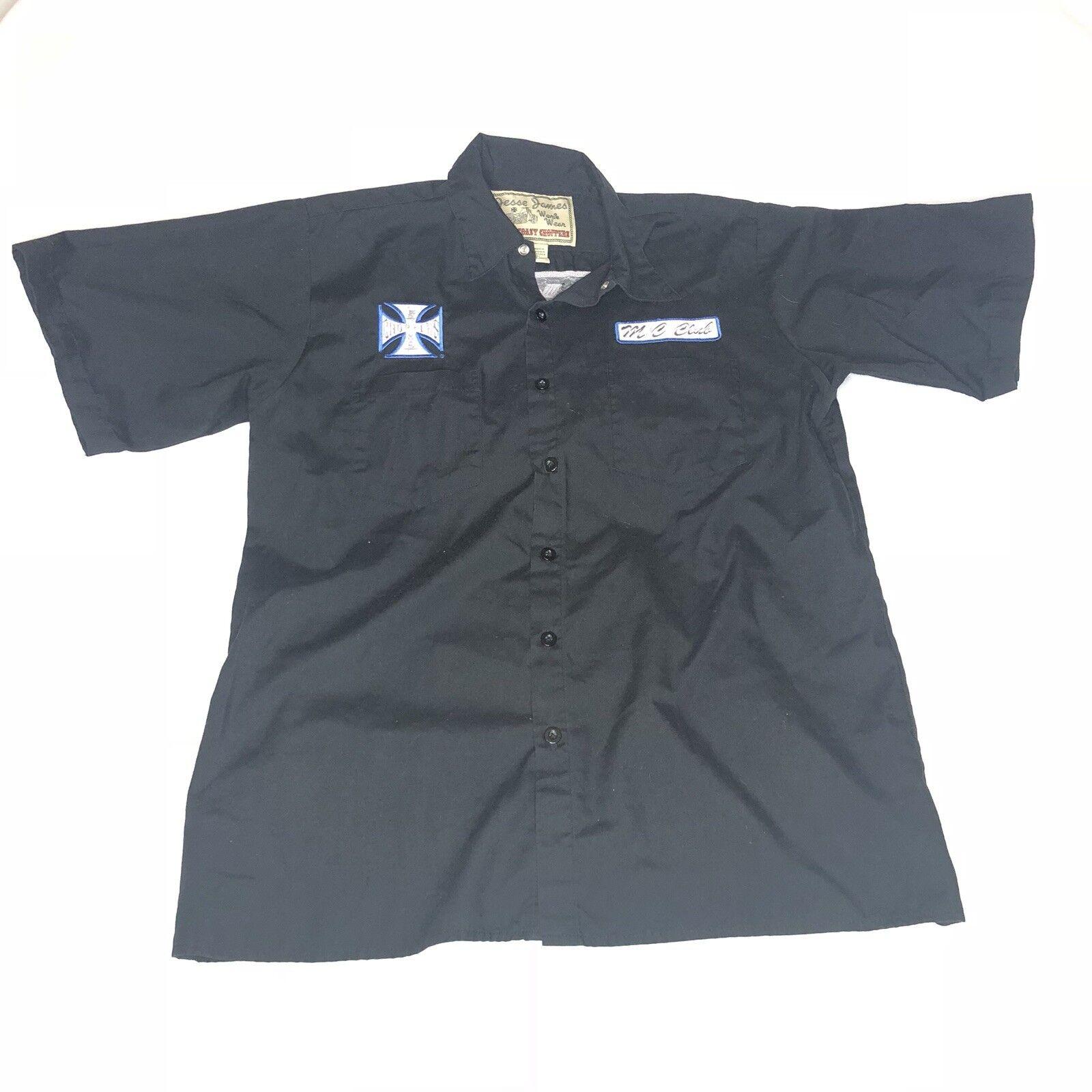 West Coast Choppers Jesse James Work Wear Button Blau Shop Shirt  Herren Medium