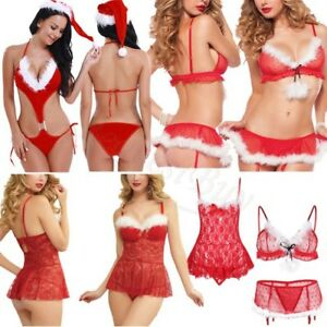 6a59ed03939 Image is loading Sexy-Women-Christmas-Underwear-Lingerie-Night-Teddy- Babydoll-