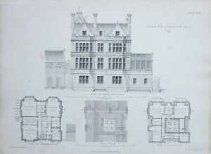 1868-Architektonisch-Aufdruck-Villa-auf-Sydenham-Hill-Garten-Hoehe-Kammer-Boden