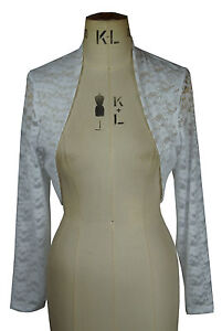 Baylis-amp-Knight-New-WHITE-Lace-Long-Sleeve-BOLERO-Stole-WEDDING-Shrug-Cardigan