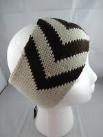 Headband Ear Warmer Band Knit Beige Brown Chevron Acrylic Rikka