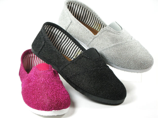 Women's New Slip On Round Toe Glitter Canvas Flat Shoes Comfy Easy Slide Sz 5-10