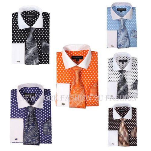 Men/'s  Fashion Polka Dot Design French Cuff  Dress Shirt Style AH613