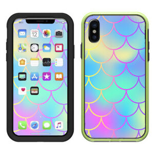 uk availability d54db b42a9 Details about Skin Decal for Lifeproof Slam iPhone X Case / Pastel colorful  mermaid scales