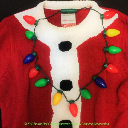 Christmas JUMBO FLASHING LED LIGHT BULB NECKLACE Ugly Sweater Holiday Decoration