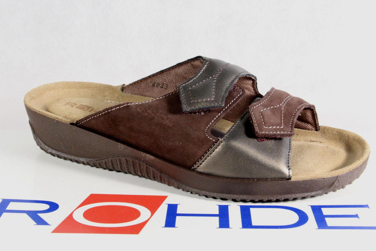 Rohde Zapato abierto, sandalias zapatillas de casa Pantuflas Marrón Ancho F 1942