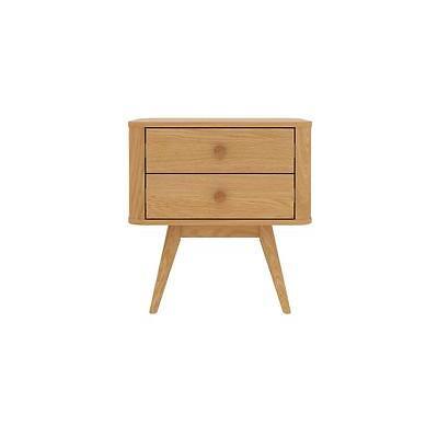 Copenhagen Bedside Table - 2 Drawer - American Oak