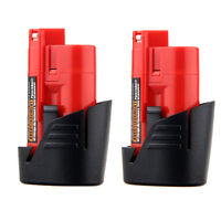2x Lithium Ion Li-ion 12v Battery For Use With Milwaukee M12 Cordless Tools