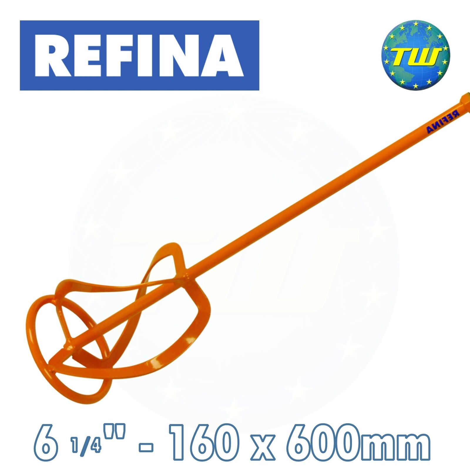 REFINA 6in Plaster & Cement Mixing Paddle M14 Thread Spiral Mixer 160 x 600mm MR