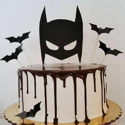 Superb 5Pc Batman Birthday Cake Topper Super Hero Cartoon Black Bat Party Funny Birthday Cards Online Eattedamsfinfo