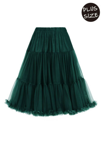 """Green 50/'s Rockabilly Vintage Soft 26/"""" PLUS SIZE Petticoat Skirt Banned Apparel"""