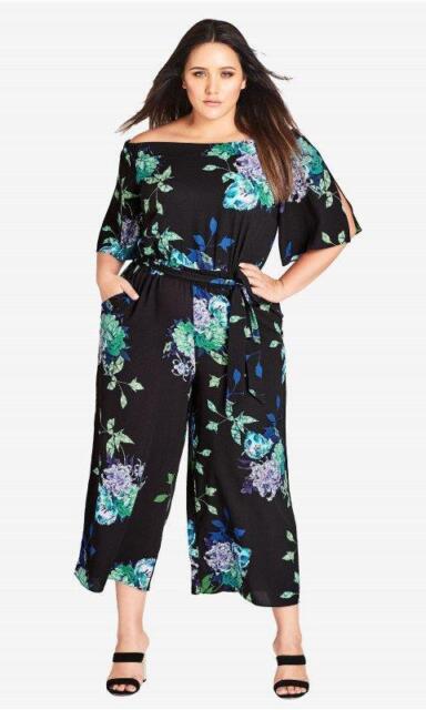 ebf397eece37 WD5510 City Chic Womens Plus Floral Off Shoulder Jumpsuit NWT Size XL   22W   119