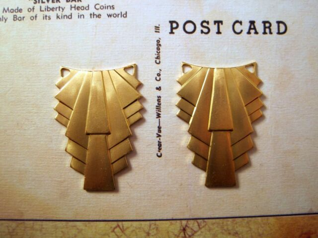 Large Brass Art Deco Connector Stampings (2) - GB6450