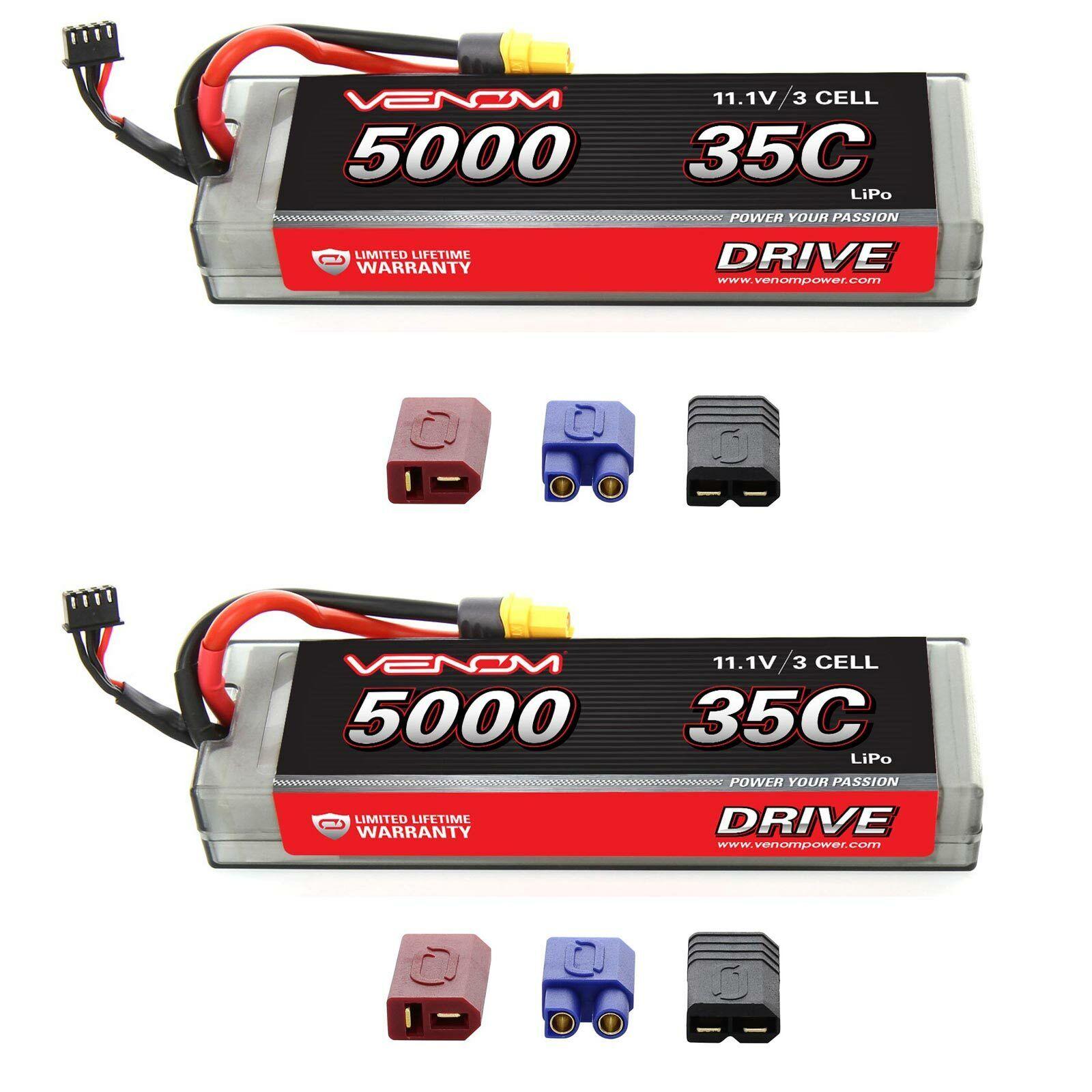 Venom 35C 3S 11.1V 5000mAh Batería LiPo Hardcase paquete plano con paquetes de Enchufe x2 Uni