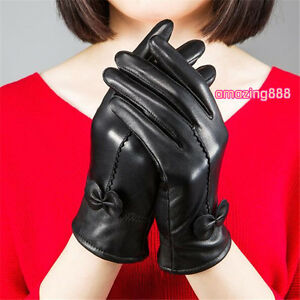 56907dabb Image is loading Elegant-Women-Winter-Gloves-Genuine-Lambskin-Leather-Bow-