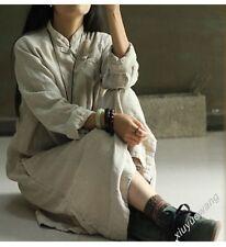 New Chinese Folk Qipao Manual Button Binding Plus Maxi Womens Long Dress Jacket