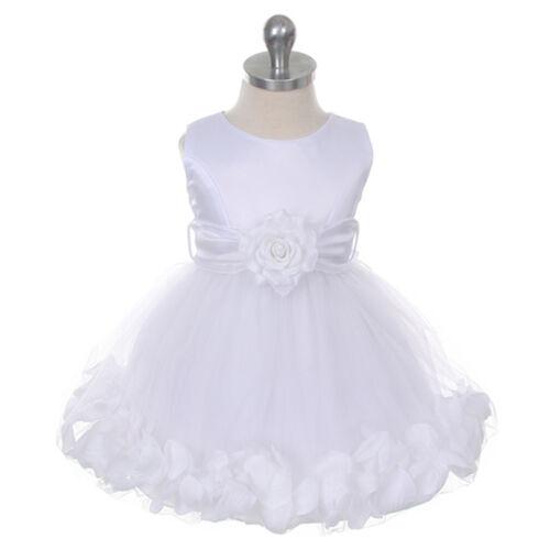 WHITE Flower Girl Dress Petals Wedding Bridesmaid Birthday Infant Toddler Party