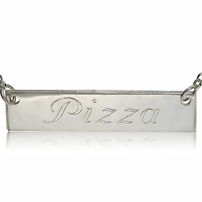STERLING SILVER DOG TAG PERSONALISED PLATE ENGRAVE ANY NAME BAR CHAIN NECKLACE