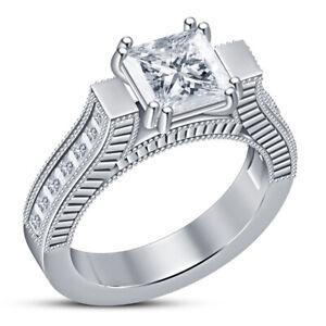 2db8e224a7012 Details about 14K White Gold Over 1.25 Ct Princess Cut VVS1 Solitaire  Diamond Engagement Ring