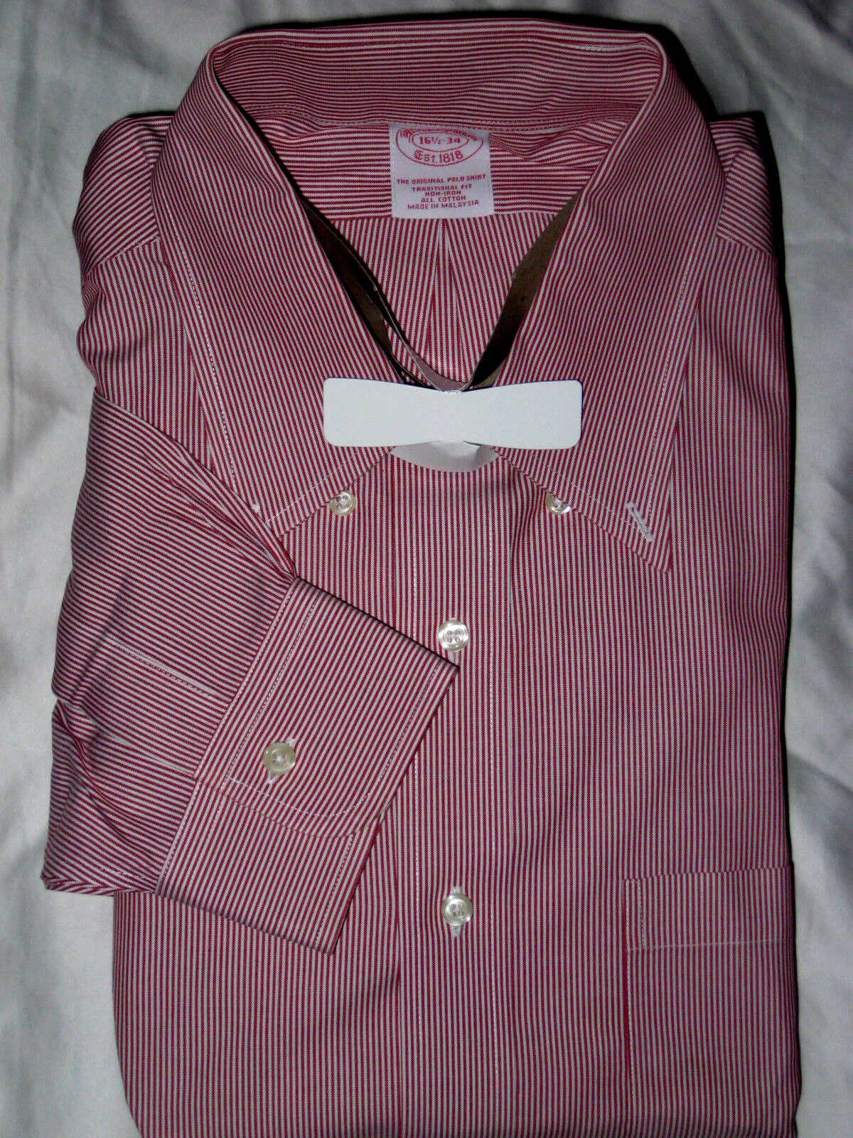 BROOKS BROTHERS  NON-IRON TRAD FIT rot Weiß DRESS SHIRT-NWOT-16.5  34