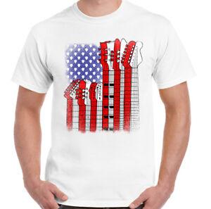American-Guitar-Flag-Mens-Funny-Guitarist-T-Shirt-Acoustic-Bass-Electric-Amp