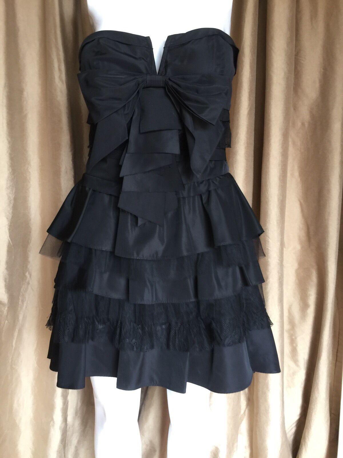 BEBE schwarz Bustier Ruffle Strapless Mini Dress Größe M