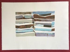 Silke-Leverkuhne-livelli-di-pietra-farblithographie-1995-a-mano-firmato-e-datato