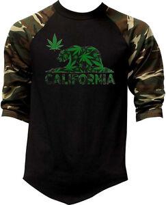 reputable site b6a4a 732e2 Details about Men's California Weed Bear Camo Baseball Raglan T Shirt Cali  life Kush 420 Smoke