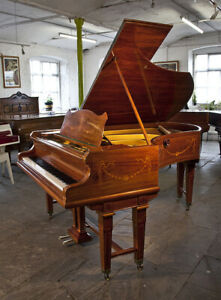 Adams style, Bechstein Model V grand piano with an inlaid, rosewood case