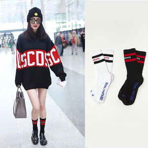 Womens-Vetements-Socks-Style-Black-White-Stripe-Overknee