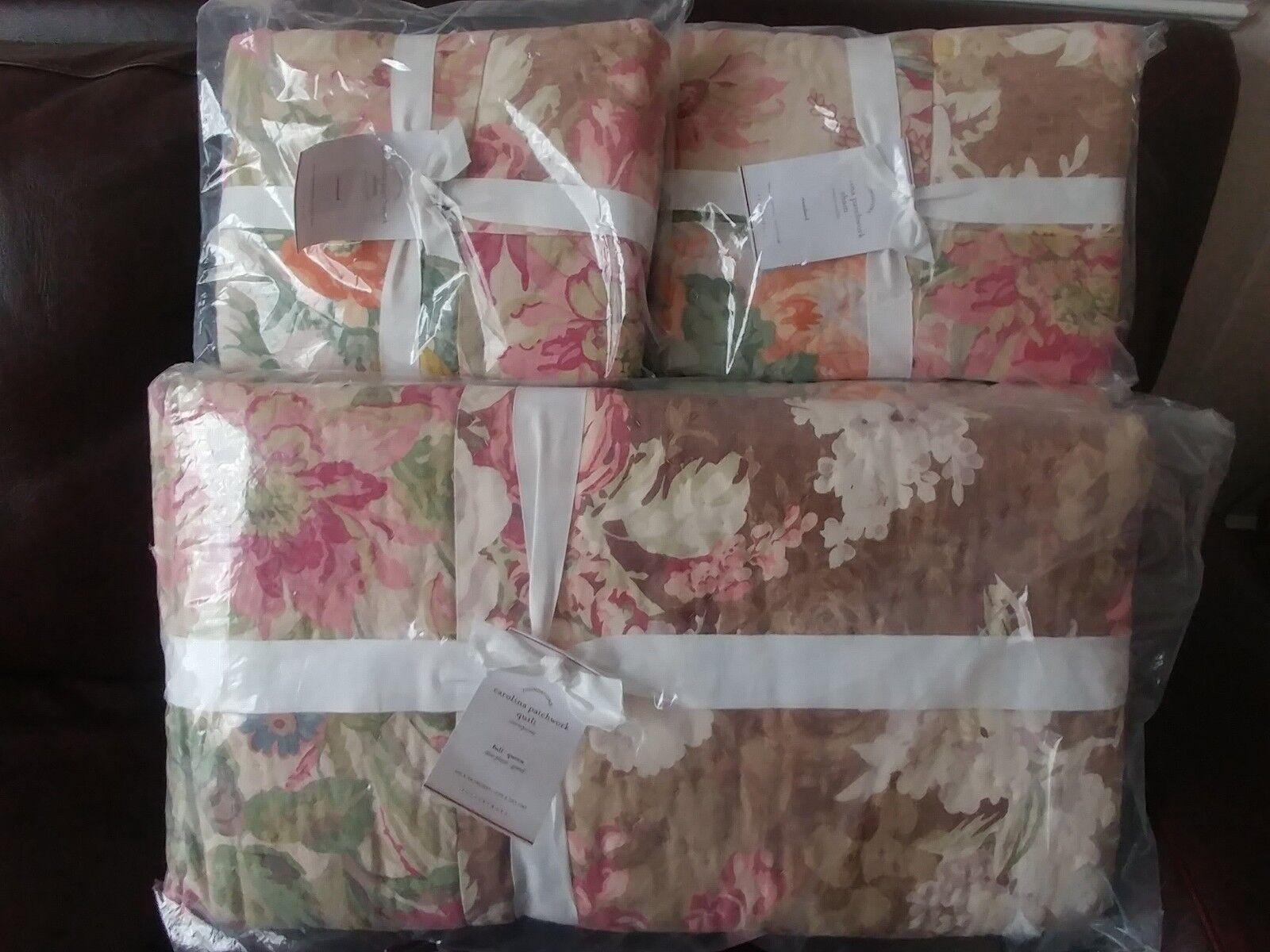 POTTERY BARN Carolina Floral Patchwork réversible complet Reine Couette Standard Sham