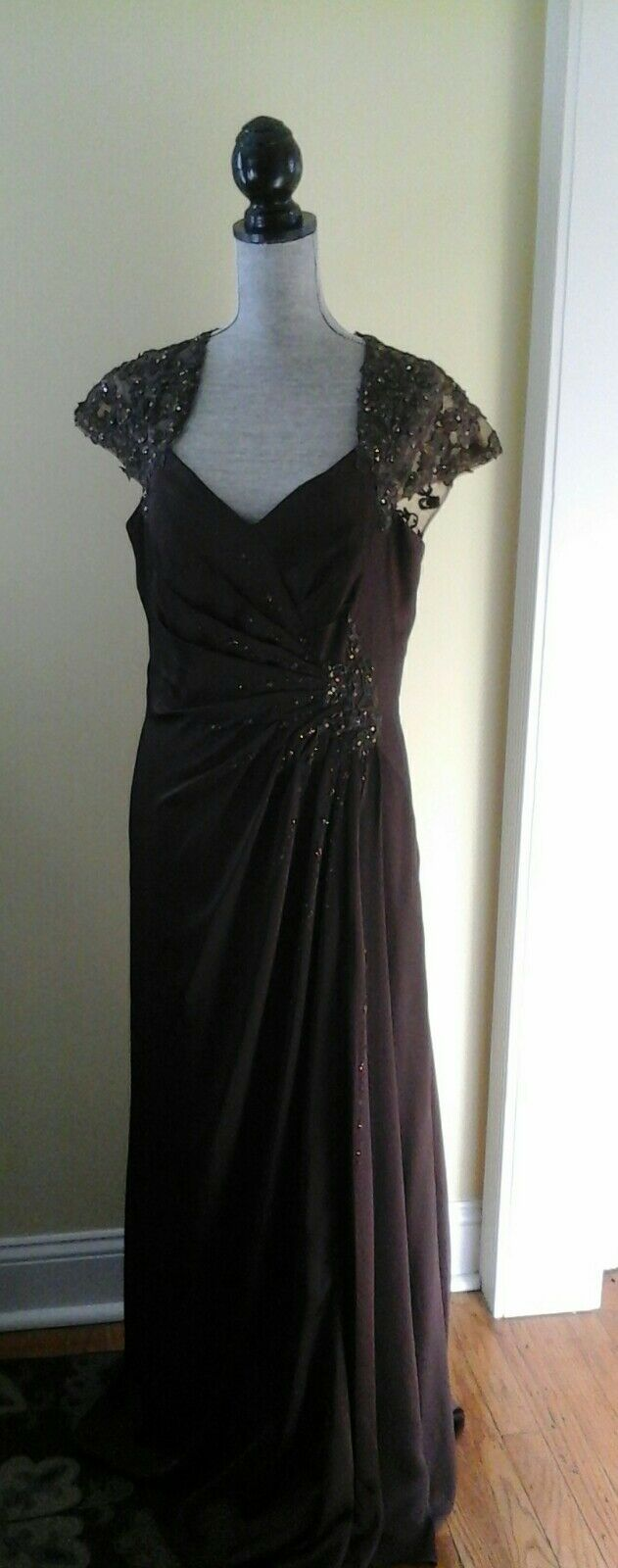 NEW W/ TAGS JADE COUTURE DRESS FORMAL MOTHER OF BRIDE BROWN SIZE 12 MRSP 350