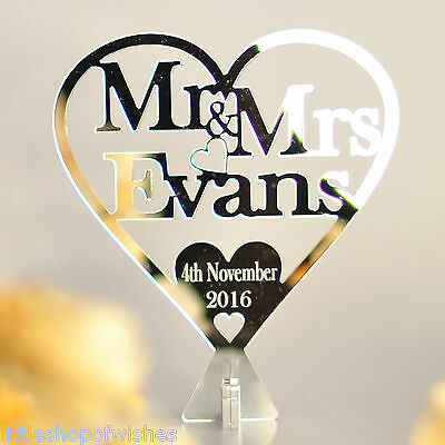 Personalised Free Standing Wedding  Mr & Mrs Heart - Top Table Decoration