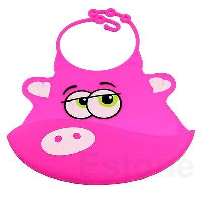 1pc New Kid Infant Baby Washable Silicone Feeding Bib Cute Cartoon Patterns Bib