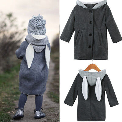 Cute Baby Infant Autumn Winter Hooded Coat Rabbit Jacket Thick Warm Clothes
